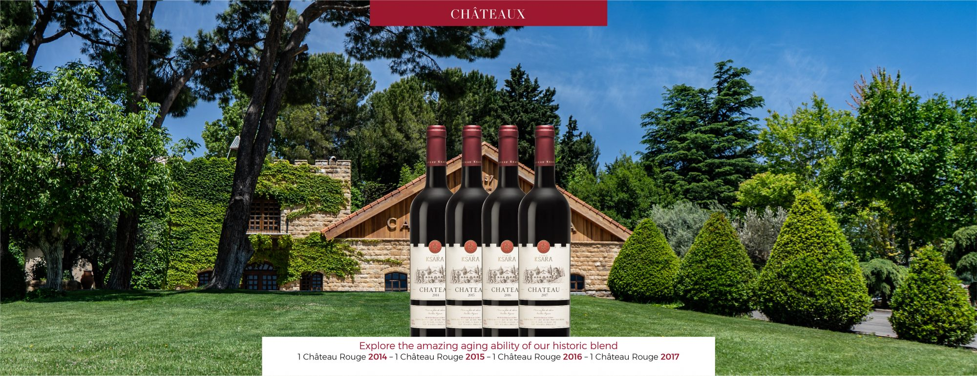 Explore the amazing aging ability of our historic blend - 1 Château Rouge 2014 - 1 Château Rouge 2015 - 1 Château Rouge 2016 - 1 Château Rouge 2017