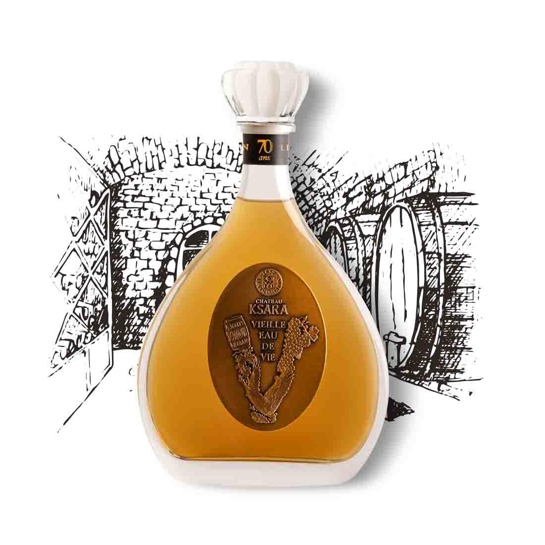 ksara vieille eau de vie de vin vintage rare collectible cognac brandy ugni blanc bekaa 70 years