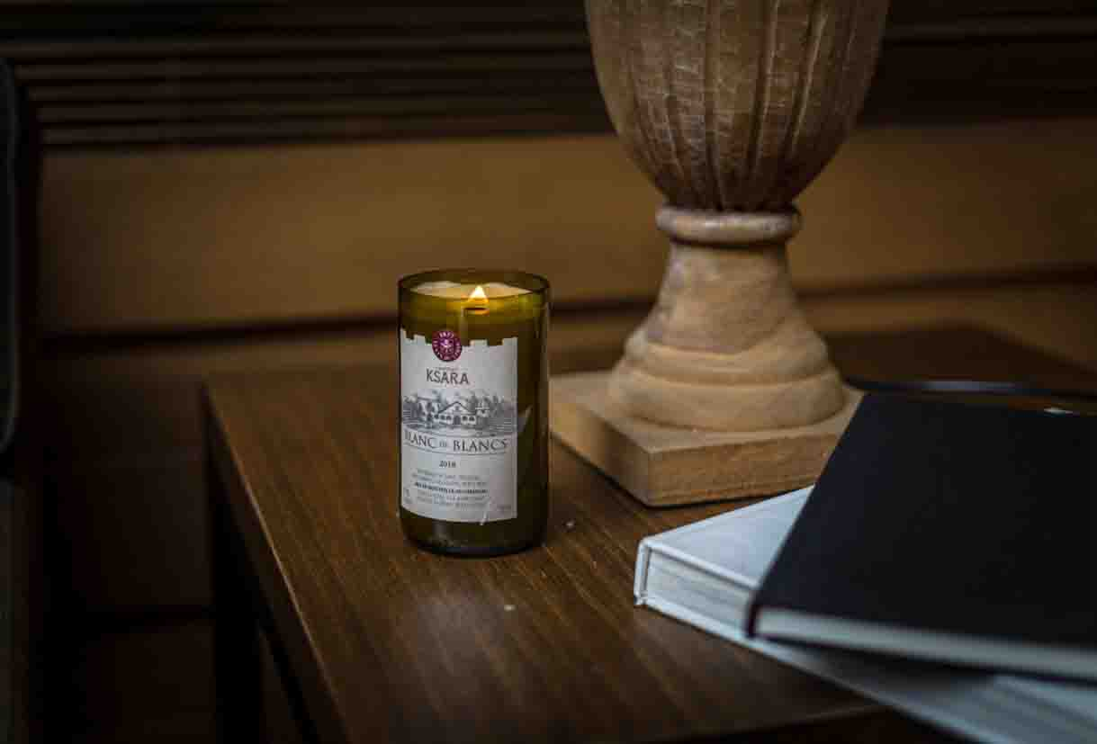 chateau ksara loyalty program gift upcycled glass with scented candle